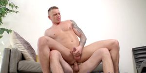 Two strong studs wield their big cocks in wild bareback party