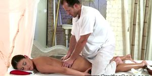 Massage gets erotic for brunette with her horny masseuse
