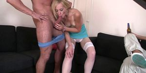 Blonde wife riding another cock while hubby watching