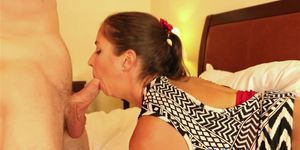 Fatass brunette Pony tail babe Sabien Rose takes a big cock