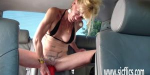 Gigantic dildo fucking mature amateur wife