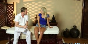 Babe throated by masseur