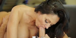 PUREMATURE Busty mature Ava Addams interrupts phone call for fuck