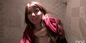 Naughty Babe goes with Stranger for Toilet Blowjob while shopping
