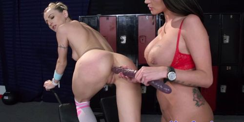 Dominant lez babes toying their asses