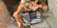 Fisted lesbians squirt outdoors