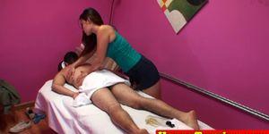 Busty asian masseuse caught cockriding Porn Videos