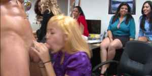 classy babes cocksucking at office party