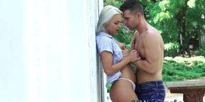 Hot blonde gives blowjob