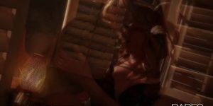 Two blonde beauties share a midnight session of passion