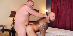 Bear with huge balls drills ass of hairy bearded hunk deep