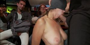 Bound busty slut anal banged in public