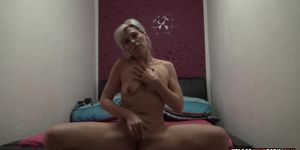 UPLOADYOURPORN - Blonde fingers her cunt and moans in pleasure
