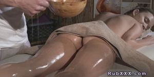Perfect ass babe rimmed and banged by masseur Porn Videos