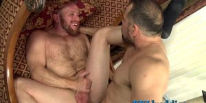 Muscled dude sucks fat rod and gets fucked