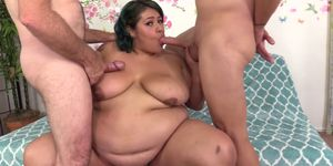 BBW Veruca Darling Shows Off Her Fat Body and Then Fucks Two Guys