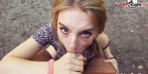 Petite blonde teen public pick up for EroCom Date from german guy