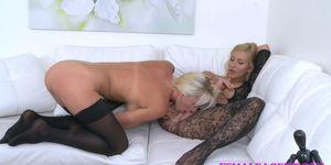 FemaleAgent Busty blonde babe licks sexy agent for money