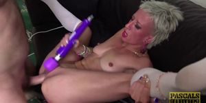 Submissive British bimbos mouth and pussy rough disciplined