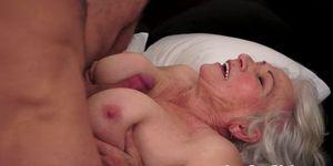Beautiful grandma facialized after tit fuck