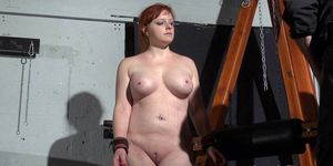 Young redhead slavegirl Vickys dungeon whipping and swedish submissive tied and tormented by her master