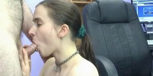 Brunette coed Kathy is on her knees and sucking dick Porn Videos