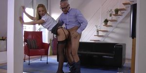 Teen babe banged in cowgirl pose by grandpa