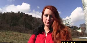 Pulled Euro redhead banged outdoors POV