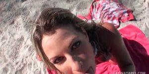 Blonde latina sucking and tit fucking cock at the beach