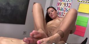 Naughty Nikki Lavay gives tugging with her sexy feet