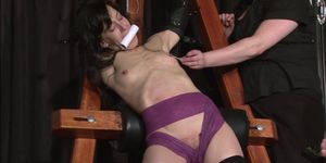 Extreme slave Elise Graves tit tormented and electro punished in hard double domination session of bondage and bdsm with masochi