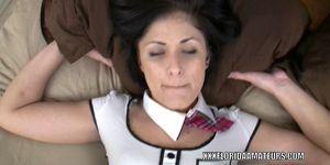 Horny schoolgirl Charli Baker takes on a stiff cock