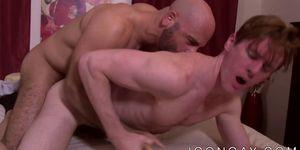 Bald mature homo passionately anal fucks a young jock