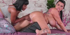 Innocent massage ends in super oily scissoring