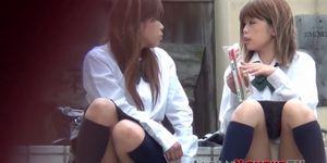 Japanese schoolgirls secretly filmed by voyeur