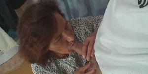 Guy bangs sewing old granny