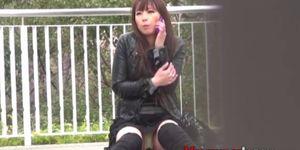 Japanese babe outdoors