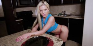 Hot Blonde Mom Pulls Down Her Panties and Proves that Shes Better than Her Stepsons Girlfriend