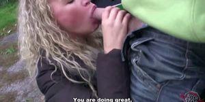 Curly blonde teen Veronika fucked in garage