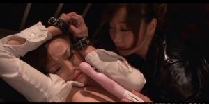 Lesbo mistress toying her delicate sex slave in jap weird video