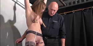Teen slave Taylor Hearts nipple clamp punishment and pussy torments of beautiful submissive in hardcore dungeon bondage with her