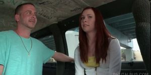 Redhead horny girl daring to get fucked in the sex bus