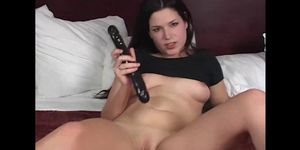 Brunette with smoking body dildos her pussy