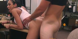 Busty pawnee babe fucked for cash by broker