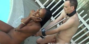 Strapped Submissive with black mistress
