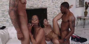 Hot babes Adriana Maya and Misty Stone fuck in foursome