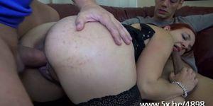 Julia double fucked in a threesome Porn Videos