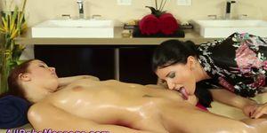 Tat lesbian masseuse licks