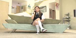 Boarding school girl seduces the cable technician
