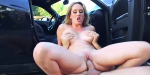 Hot blonde MILF blows dick and gets railed roughly outdoor